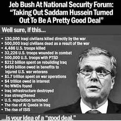 Jeb Bush supports the Iraq War. Hillary also voted for the invasion of Iraq. Bernie Sanders, Saddam Hussein, 2016 Presidential Election, 2016 Election, Religion And Politics, Iraq War, Criminal Minds, Clueless, Denial