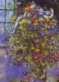 Marc Chagall. Stralende Bloemen. Meer kaarten van Chagall bij www.postersquare.com