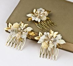 3 Vintage Hair Combs, Bridesmaids Hair Comb, Bridal Hair Comb, Bridesmaids Gift Shabby Chic Wedding Accessories, Gold Ivory White. $210.00, via Etsy.
