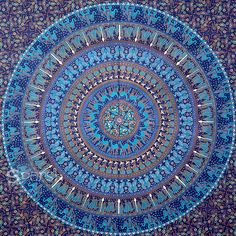 Elephant Mandala Blue Hippie Tapestry Hippie Wall by Sparshh