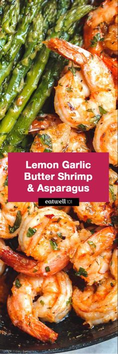 Lemon Garlic Butter Shrimp with Asparagus - So much flavor and so easy to throw together, this shrimp dinner is a winner! : Lemon Garlic Butter Shrimp with Asparagus - So much flavor and so easy to throw together, this shrimp dinner is a winner! Shrimp And Asparagus, How To Cook Asparagus, Asparagus Recipe, How To Cook Shrimp, Asparagus Skillet, Shrimp Recipes For Dinner, Chicken And Shrimp Recipes, Seafood Recipes, Healthy Recipes