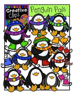 This 22-piece set is packed with penguin pals! Included are 14 vibrant, colored images and 6 black and white versions (not shown in the preview). **ADDED BONUS** This set also includes a snowy background in both B&W and color to help you create instant scenes and product covers. This background coordinates with all my other winter sets, too! $