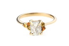 Alternative engagement ring: Bario Neal Asymmetrical Avens Ring with rough diamond