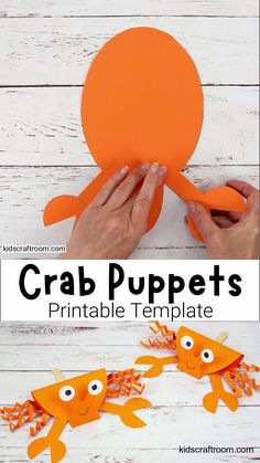 This Crab Puppet Craft is so fun for kids. Download the printable crab craft template and get making yours today. Such a fun ocean craft for kids this Summer! #kidscraftroom #crabs #crabcrafts #summercrafts #kidscrafts #kidsactivities #oceancrafts #puppets #puppetcrafts #beachcrafts Summer Crafts For Toddlers, Thanksgiving Crafts For Toddlers, Animal Crafts For Kids, Paper Crafts For Kids, Craft Activities For Kids, Toddler Crafts, Diy Arts And Crafts, Fun Crafts, Art For Kids