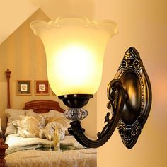 Glass Material Shade Metal Lighted Wall Sconces For Bathroom