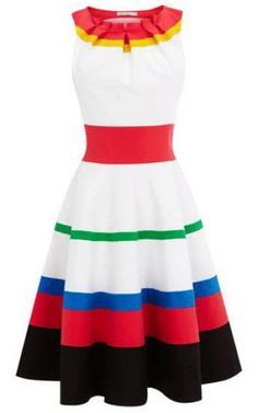 White Red Sleeveless Striped A Line Dress