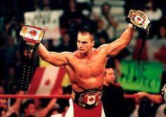 "Lance Storm with his ""Canadian Heavyweight Championship"" (U.S. Heavyweight Championship), the WCW Hardcore Belt & the WCW Cruiserweight Belt..."