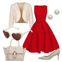 Nostalgica stile vintage anni  50  outfit donna Bon Ton per serata fuori  d40d6a8c69a