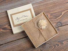 Lace and Buralp Wedding Invitation, Vintage Wedding Invitations , Rustic Box Wedding invitation on Etsy, $9.40