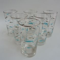 1960s Libbey Mediterranean Atomic Fish High Ball Glass Tumblers
