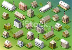 Vector Isomentric building icons