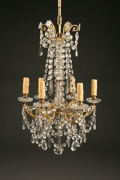**Antique French style 6 arm bronze and crystal chandelier.