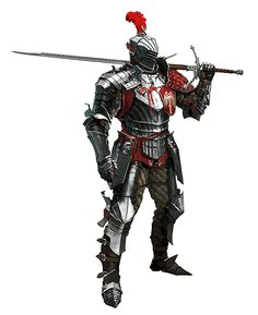 Human Knight in Armor with Greatsword - Pathfinder PFRPG DND D&D d20 fantasy