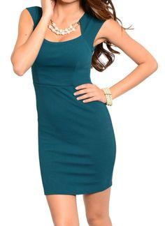 Bodycon Fashion Sheath Dress Low Cut Square Neck Cap Sleeve Dress Size 2,4,6 #Fashion #Sheath #Cocktail