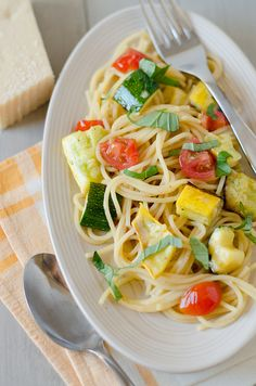 Summer Spaghetti 2 by Pennies on a Platter      Absolutely delicious, although I would season the squash before grilling next time