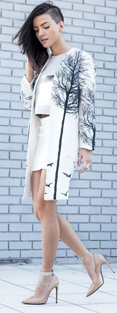 Printed Coat Outfit Idea