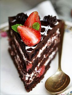 Barbara's Old Fashioned Chocolate Cake with Balsamic Strawberry  Cream Filling {Eggless}