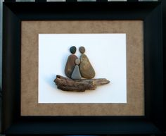 """""""And Baby Makes Three.."""" 11"""" x 14"""" Created using pebbles collected from the shores of Lake Michigan"""