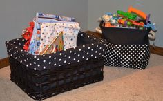 Toy baskets from michaels. Police theme nursery. Black and white polka dots and stripes.