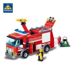 Kazi 8054 Brandweerwagen Blokken 206 stks Bricks Bouwstenen Sets Onderwijs Speelgoed Voor Kinderen