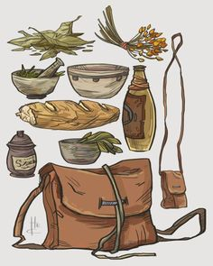 Item Sketches 2 by Nafah spices mortal pestle wine jug bottle pack bag satchel sugar bowl pot equipment gear magic item | Create your own roleplaying game material w/ RPG Bard: www.rpgbard.com | Writing inspiration for Dungeons and Dragons DND D&D Pathfinder PFRPG Warhammer 40k Star Wars Shadowrun Call of Cthulhu Lord of the Rings LoTR + d20 fantasy science fiction scifi horror design | Not Trusty Sword art: click artwork for source: