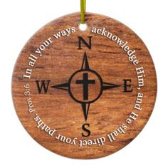 Proverbs 3:6 Direct Your Paths Bible Verse Compass Ceramic Ornament