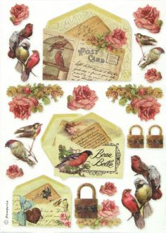 Ricepaper/Decoupage paper, Scrapbooking Sheets /Craft Paper Post Card with Birds