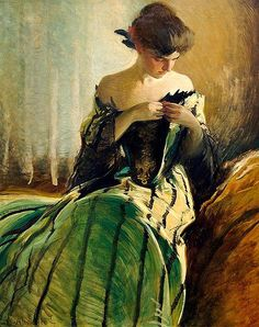 John White Alexander (American painter, 1856-1915)Study in Black and Green 1906