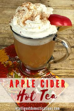 How to make a delicious cup of Hot Apple Cider flavored tea without the cider. Use our formula for measuring the water to tea bags ratio for the size cup you are using. Whipped cream on top is optional but it sure is good. #hottea #fallfood Hot Tea Recipes, Apple Recipes, Fall Recipes, Breakfast Recipes, Caramel Apple Cheesecake, Caramel Apples, Hot Apple Cider, Apple Pie, Friend Recipe