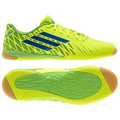 e860db6d28 Adidas Freefootball SpeedTrick Indoor Soccer Shoes – Electricity Blue  Beauty Ray Green (Mens