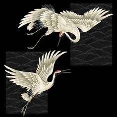 Picture of A Japanese crane stock photo, images and stock photography. Japanese Crane, Japanese Flowers, Japanese Art, Korean Art, Asian Art, Crane Tattoo, Crane Bird, Art Asiatique, Tibetan Art