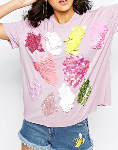 Image 3 of ASOS T-Shirt With Scatter Sequins