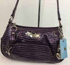 Kathy Van Zeeland Handbag Gator Glam Top Zip Purple NWT