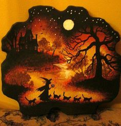 """""""Original Hand-Painted Halloween painting done on a piece of Vintage wood by Margaryta Yermolayeva. Vintage Halloween Decorations, Theme Halloween, Halloween Painting, Halloween Quotes, Halloween Pictures, Holidays Halloween, Halloween Crafts, Happy Halloween, Halloween Witches"""