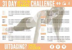 Hier is die dan het schema van de 31 day After Summer Challenge. Tijdens de challenge ben je drie dagen actief en de laatste dag is het knallen met een extra uitdaging. Deze uitdaging zal op onze Facebook pagina geplaatst worden, like deze dus ook! Na deze drie dagen heb je een dag rust om te kunnen herstellen. Dit herhaald zich 31 dagen lang. De challenge gaat 1 oktober van start, wij hebben er al heel veel zin in! Jullie ook?