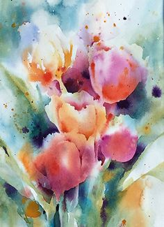 Tulips by Yvonne Joyner Watercolor, Scottsdale, AZ ~ 20 in. x 16 in - A-Aquarell. - Tulips by Yvonne Joyner Watercolor, Scottsdale, AZ ~ 20 in. x 16 in – A-Aquarell-Blumen – - Watercolor Pictures, Easy Watercolor, Watercolor Cards, Watercolor Landscape, Abstract Watercolor, Simple Watercolor Flowers, Abstract Paintings, Indian Paintings, Abstract Oil