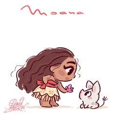 Chibies of Disney's Moana / Vaiana with Pua , Elsa with Olaf and Rapunzel / Raiponce with Pascal. https://www.facebook.com/artofdavidgilson/