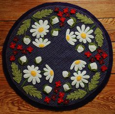 Primitive Wool Applique Penny Rug Candle Mat by HighlandSong, $99.00