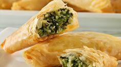 For Easter dinner, rich spinach feta filling in a single paper thin phyllo sheet.