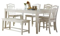 Image from http://wowhomedesign.net/wp-content/uploads/summerhill-piece-dining-room-set-bench-white-sets-58407.jpg.