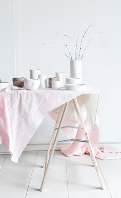Passion Shake | DIY painted tablecloth for styling shoot / Styling New Ceramics Collection | passionshake.com