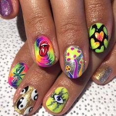 Hippie Nail Art, Hippie Nails, Almond Nails Designs, Nail Designs, Hair And Nails, My Nails, Nerd, Short Nails Art, Fire Nails