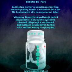 Essens ES`Pure | Essens Club Czech -  kombinace hořčíku a aminokyseliny taurin má blahodárný vliv na regeneraci jater, které mají krom jiného funkci čistit organismus od toxinů kolujících v krevním či lymfatickém systému • vitaminy B přispívají ke snížení únavy a vyčerpání, působí na energetický etabolismus • bez umělých barviv, cukru, lepku a laktózy http://essensclub.cz/essens-espure/