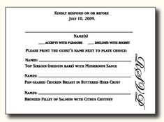 Rsvp with meals and dietary needs we need to add an rsvp for 5 types of wedding rsvp card wording stopboris Choice Image