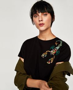 Image 2 of EMBROIDERED HOROSCOPE T-SHIRT from Zara