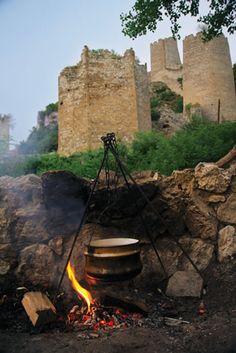 #Serbia Favorite pastime, fish kettle on the river, Golubac fortress, National Park Djerdap