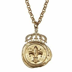 #blackfriday #cybermonday #sale #Jewelry Amazon.com: Designer Inspired Crown-topped Artisan Wax Seal Pendant on Long Chain Necklace - Fleur De Lis.fabulous Ornate, Crown-topped Arti...