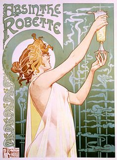 Got this Art Nouveau poster on the wall. Ad for a pretty sharp beverage.