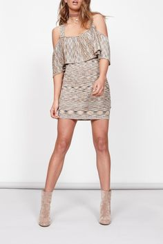 Delicate knitwear dress. Perfectly on trend with the off the shoulder look, straps allow you to wear a regular bra.   Off Shoulder Knit Dress  by MinkPink. Clothing - Dresses - Mini Clothing - Dresses - Off The Shoulder Canada