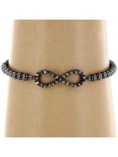 Hematite and Crystal Accented Infinity Sign Stretch Bracelet